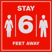 Social Distancing 6 feet sign for COVID display