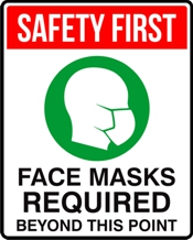 Masks Required 8 x 10 Sign for COVID display